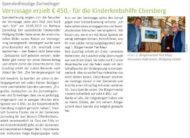 Vernissage erzielt 450 € für die Kinderkrebshilfe Ebersberg e.V.