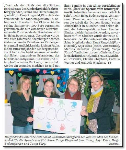 Kindertagesstätte St. Sebastian unterstützt die Kinderkrebshilfe Ebersberg e.V. mit 500,00 €