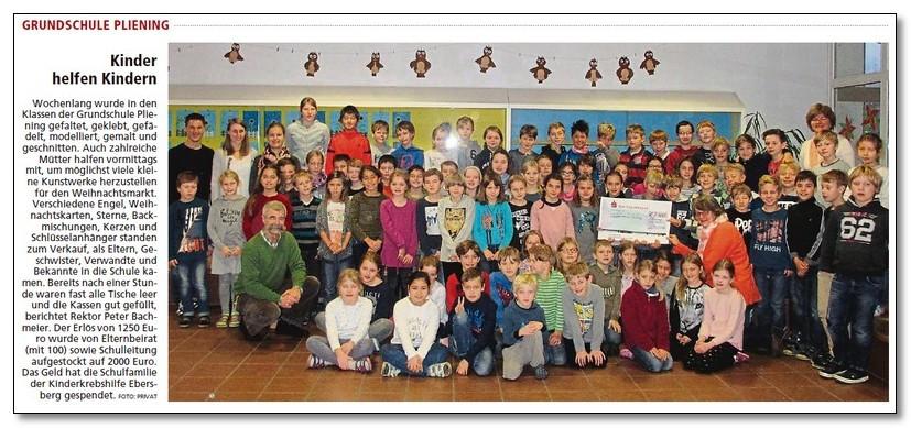 Grundschule Pliening spendet 2.000,00 € an die Kinderkrebshilfe Ebersberg e.V.