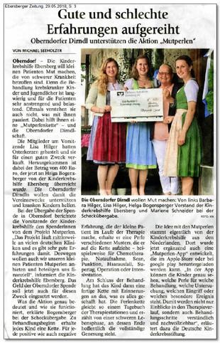 """Kerzen-Bastel-Aktion der Oberndorfer Dirndl bringt 400,00 € für die Aktion """"Mutperlen"""""""