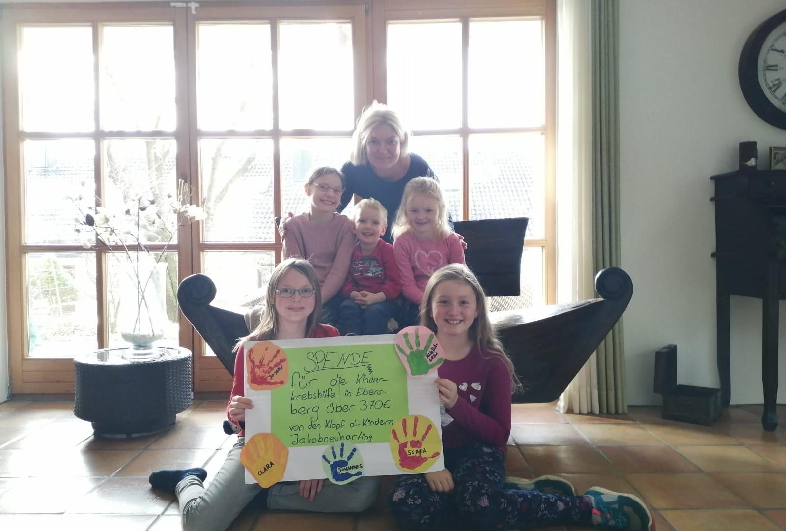Klopf o´- Kinder aus Jakobneuharting sammeln tolle 370 € für die Kinderkrebshilfe Ebersberg e.V.