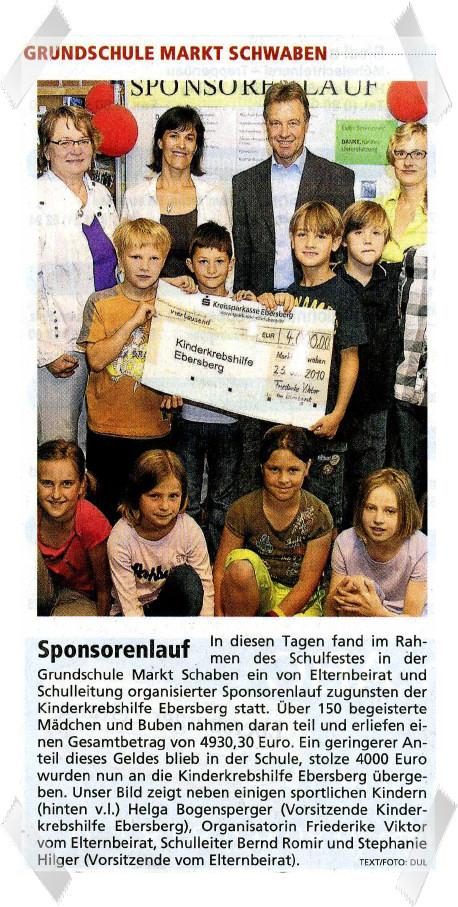 Sponsorenlauf der Grundschule Markt Schwaben