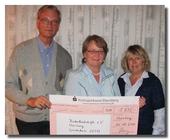 1.835,00 € für die Kinderkrebshilfe Ebersberg Herr Hartmut Döringer konnte am 25.09.2011 seinen 60. Geburtstag feiern.