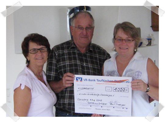 Paul Prediger aus Inning spendete der KKH Ebersberg anlässlich seines 70. Geburtstags 1.000,00 Euro      .