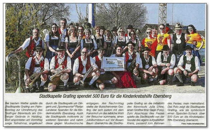 Bärenlauf in Grafing - Stadtkapelle Grafing erspielt dabei 500,00 € für die gute Sache