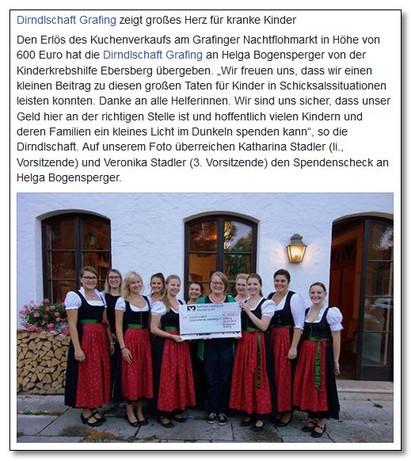 Grafinger Dirndlschaft spendet 600,00 € an die Kinderkrebshilfe Ebersberg e.V.
