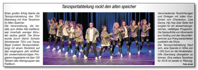 Sensationelle 1.000,00 € durch die TSV-Tanzsportabteilung