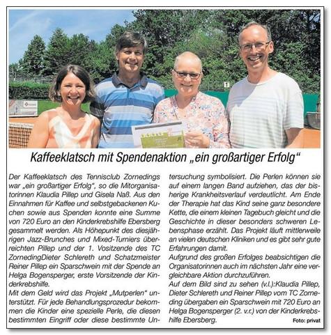 Der Tennisclub Zorneding sammelt tolle 720,00 € für die Kinderkrebshilfe Ebersberg e.V.