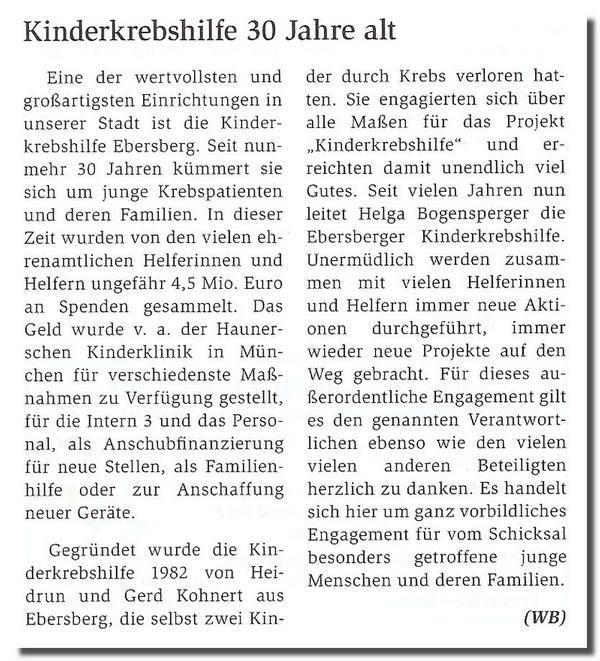 30 Jahre Kinderkrebshilfe Ebersberg