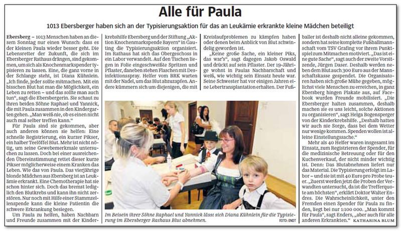 """Unser großes Dankeschön geht an alle Unterstützer der AKTION """"Paula"""".  Die Kinderkrebshilfe Ebersberg bedankt sich ganz herzlich für die Spendenbereitschaft in Höhe von 27.204,00 €."""
