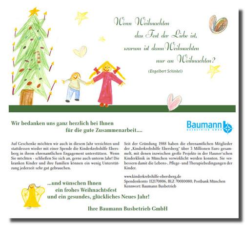 Weihnachtskarten vom Busbetrieb Baumann
