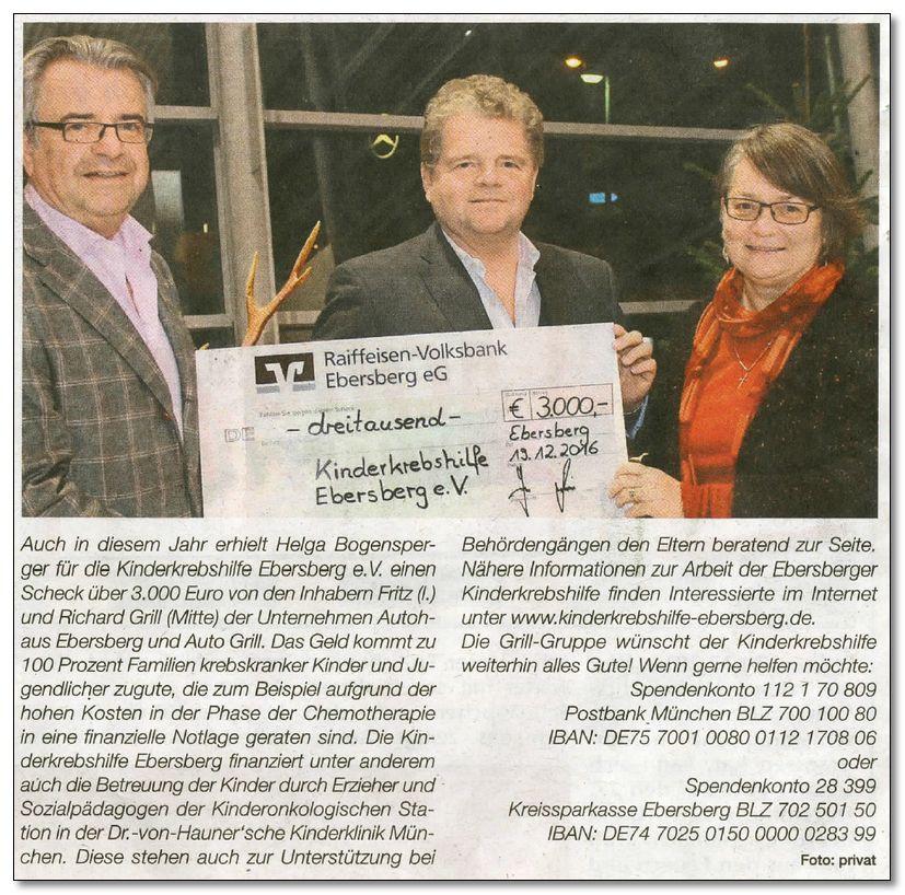 Grill-Gruppe spendet ein weiteres Mal für die Kinderkrebshilfe Ebersberg e.V.