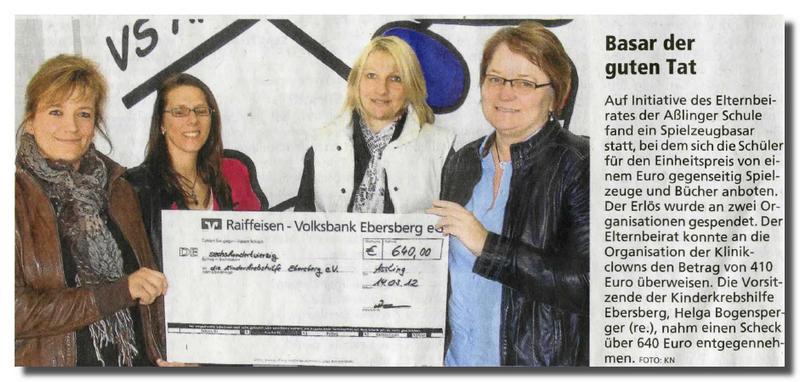 Spielzeugbasar der Asslinger Schule bringt 640,00 € für die Kinderkrebshilfe Ebersberg ein