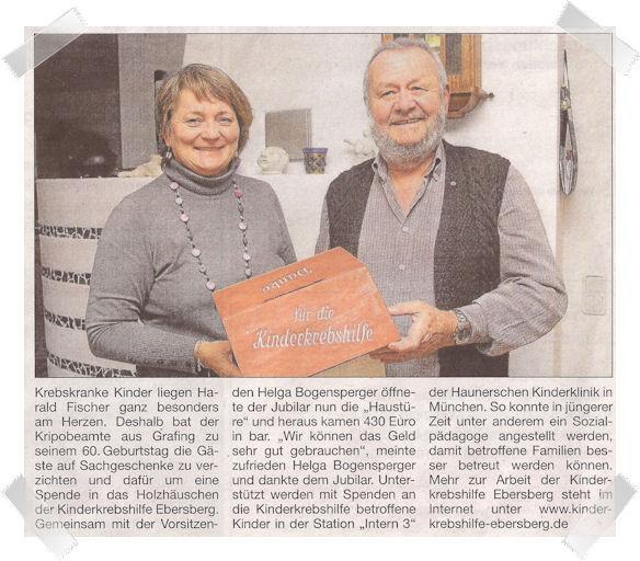 Harald Fischer spendete der KKH Ebersberg anlässlich seines 60. Geburtstags 430,00 Euro