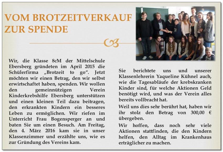 """""""Brotzeit to go"""" an der Grund- und Mittelschule Ebersberg"""