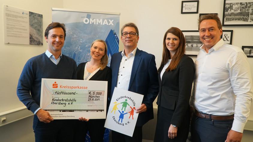 OMMAX spendet 5.000 € an die Kinderkrebshilfe Ebersberg e.V.