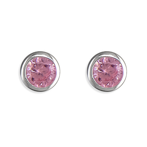 Pink tourmaline october birthstone stud earrings