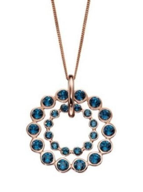 Swarovski Montana crystal double circle rose gold plated Pendant