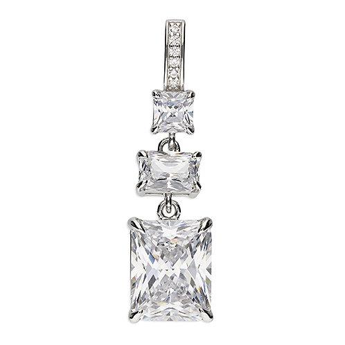 Silver Triple Emerald Cut CZ Cubic Zirconia Pendant