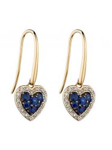9ct Yellow Gold Sapphire & Diamond Heart Earrings