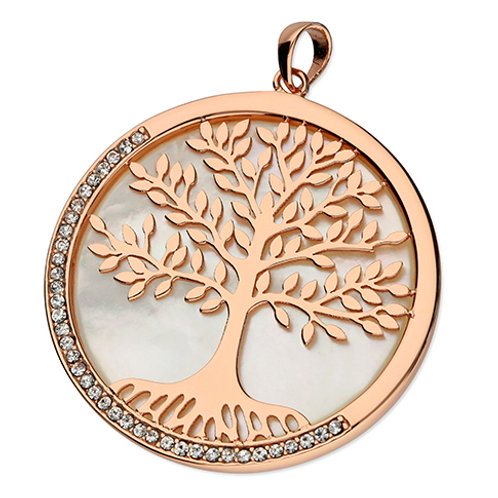 Rose Gold Mother of Pearl Tree of Life Necklace