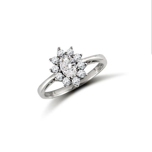 9ct White Gold Oval CZ Cluster Ring
