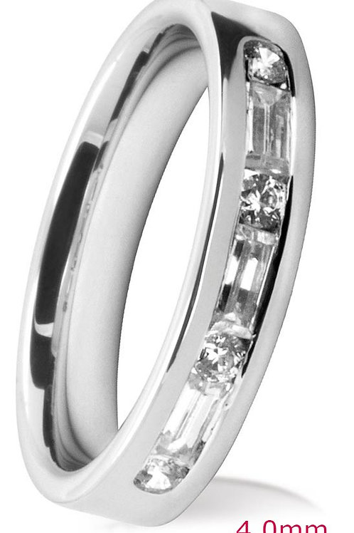 White Gold Round & Baguette Diamond Channel Set Wedding Ring