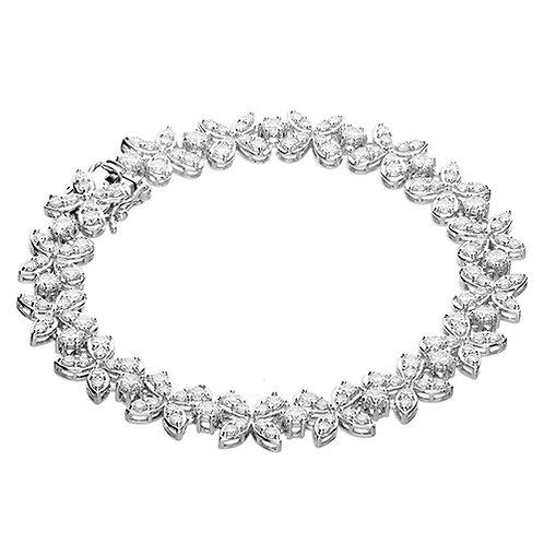 Silver CZ Floral Statement Bracelet