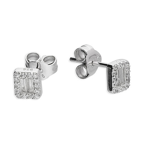 Silver Small Baguette Halo CZ Stud Earrings