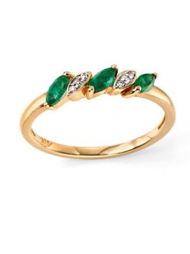 9ct Yellow Gold Marquis Emerald & Diamond Ring