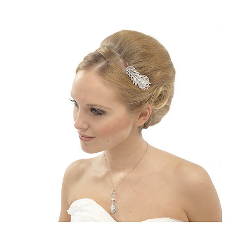 Bridal Hair Comb 'Crystal Peacock' from Athena Collection