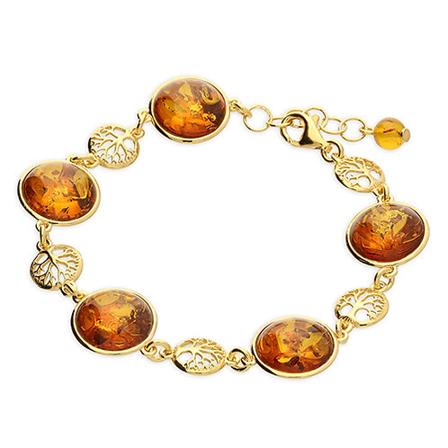 Gold Amber Tree of Life Bracelet