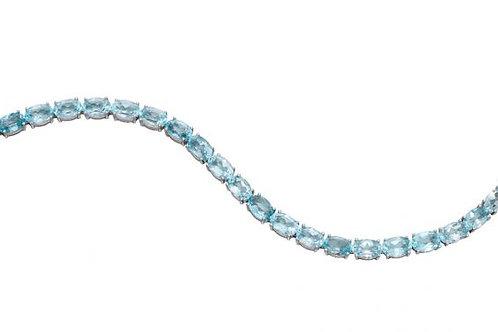 9ct White Gold Blue Topaz Tennis Bracelet