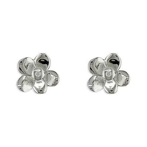 Childrens Sterling Silver Diamond Set Flower Stud Earrings