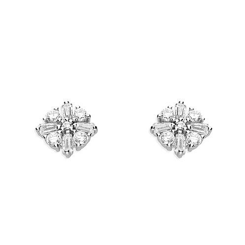Silver Baguette CZ Flower Stud Earrings
