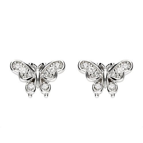 Silver Vintage Style CZ Butterfly Stud Earrings