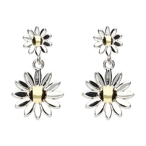 Silver Double Daisy Drop Earrings