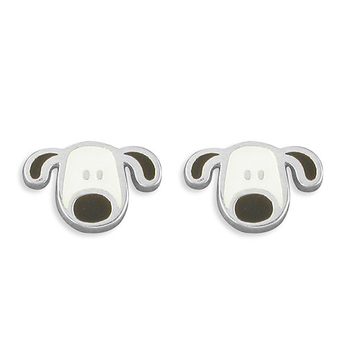 Childs Silver Patch Dog Stud Earrings