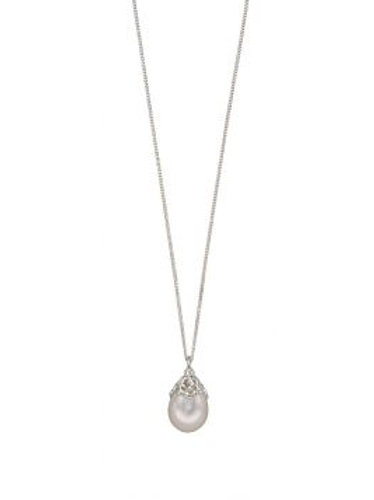 Silver White Baroque Freshwater Pearl Pendant