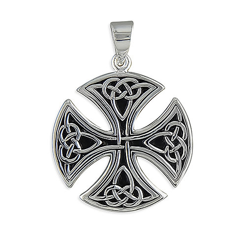 Silver Large Round Celtic Cross Pendant