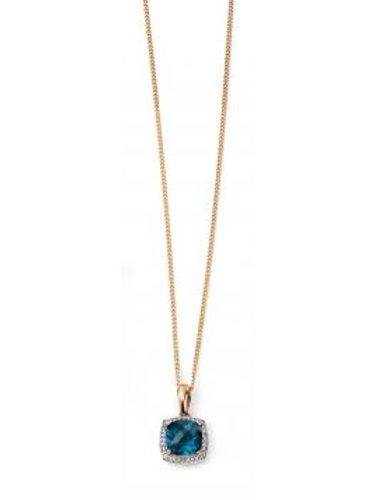 9ct Yellow Gold London Blue Topaz & Diamond Necklace