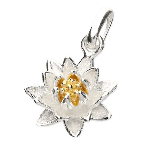 July Birthday Waterlily Flower Pendant Necklace