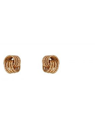 9ct Yellow Gold Interlinked Circle Knot Stud Earrings