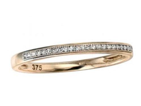 9ct Yellow Gold Slim Half Eternity Diamond Ring