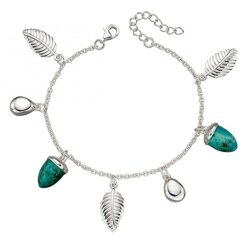 Stabilised turquoise with leaf and pebble design silver bracelet