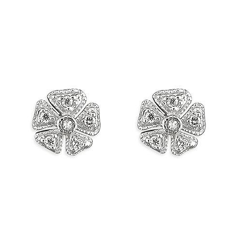 Silver Vintage Style Diamond Simulant Stud Earrings