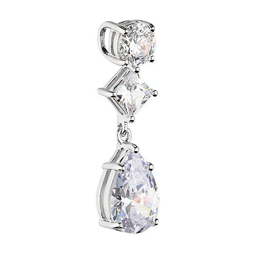 Silver Round Princess Pear CZ Necklace
