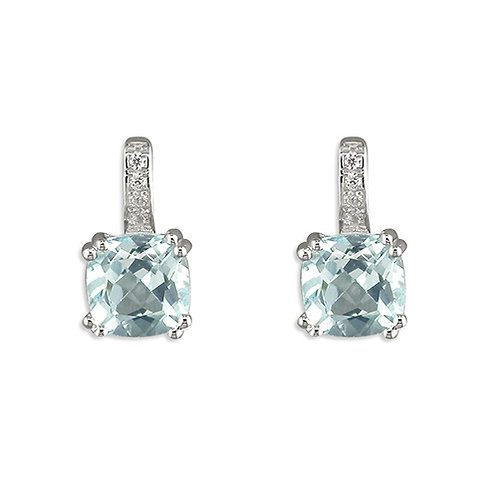 Blue Topaz Square Set Stud Earrings