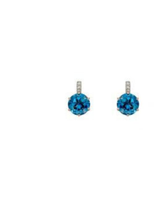9ct Rose Gold London Blue Topaz Earrings