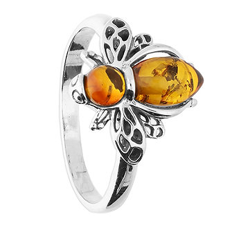 Silver Cognac Amber Bee Ring